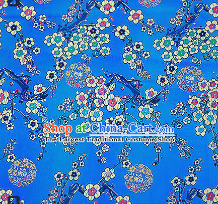 Chinese Traditional Blue Brocade Fabric Classical Plum Blossom Pattern Design Satin Tang Suit Silk Fabric Material