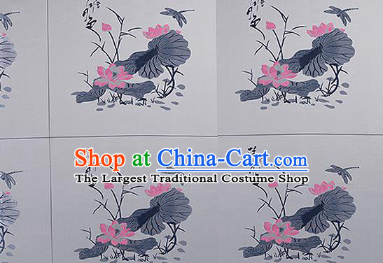 Chinese Traditional Grey Brocade Fabric Asian Embroidery Lotus Pattern Design Satin Cushion Silk Fabric Material