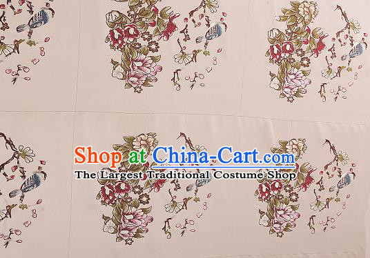 Chinese Traditional Beige Brocade Fabric Asian Embroidery Pattern Design Satin Cushion Silk Fabric Material