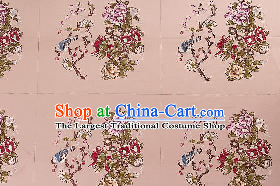 Chinese Traditional Khaki Brocade Fabric Asian Embroidery Pattern Design Satin Cushion Silk Fabric Material