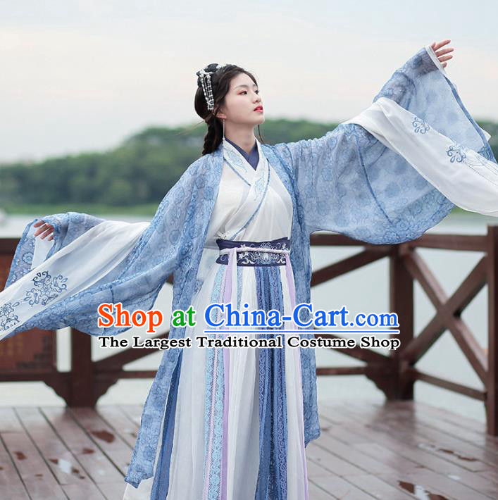 Traditional Chinese Jin Dynasty Historical Costumes Ancient Princess Embroidered Hanfu Dress for Women