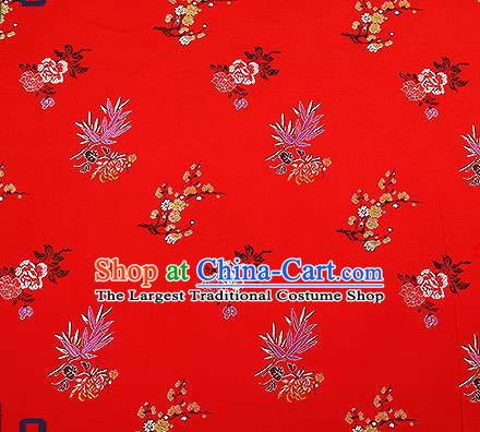 Chinese Traditional Red Brocade Fabric Classical Plum Blossom Orchid Bamboo Chrysanthemum Pattern Design Satin Tang Suit Silk Fabric Material