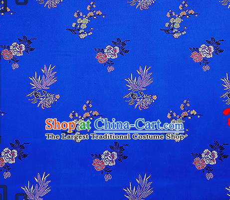 Chinese Traditional Royalblue Brocade Fabric Classical Plum Blossom Orchid Bamboo Chrysanthemum Pattern Design Satin Tang Suit Silk Fabric Material
