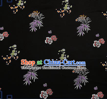 Chinese Traditional Black Brocade Fabric Classical Plum Blossom Orchid Bamboo Chrysanthemum Pattern Design Satin Tang Suit Silk Fabric Material