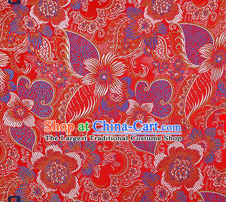 Chinese Traditional Red Brocade Fabric Classical Palace Flowers Pattern Design Satin Tang Suit Silk Fabric Material