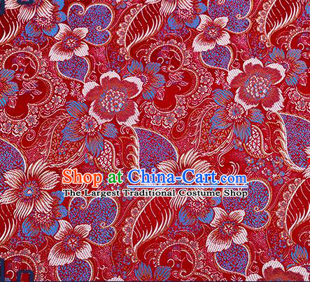 Chinese Traditional Purplish Red Brocade Fabric Classical Palace Flowers Pattern Design Satin Tang Suit Silk Fabric Material