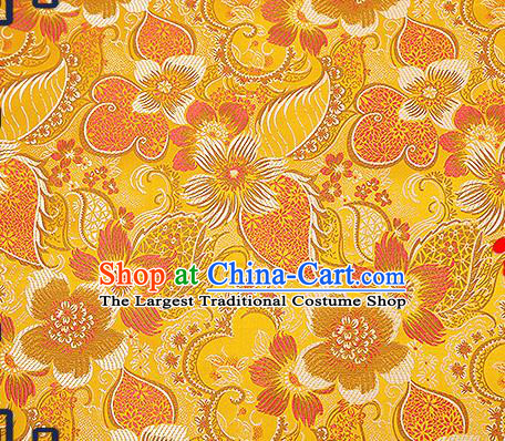 Chinese Traditional Yellow Brocade Fabric Classical Palace Flowers Pattern Design Satin Tang Suit Silk Fabric Material