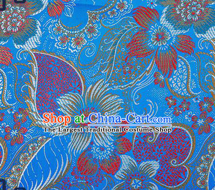 Chinese Traditional Blue Brocade Fabric Classical Palace Flowers Pattern Design Satin Tang Suit Silk Fabric Material