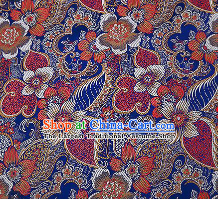 Chinese Traditional Navy Brocade Fabric Classical Palace Flowers Pattern Design Satin Tang Suit Silk Fabric Material