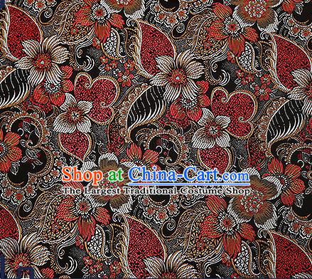 Chinese Traditional Black Brocade Fabric Classical Palace Flowers Pattern Design Satin Tang Suit Silk Fabric Material