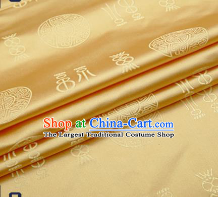 Chinese Traditional Golden Brocade Drapery Classical Fu Character Pattern Design Satin Tang Suit Silk Fabric Material