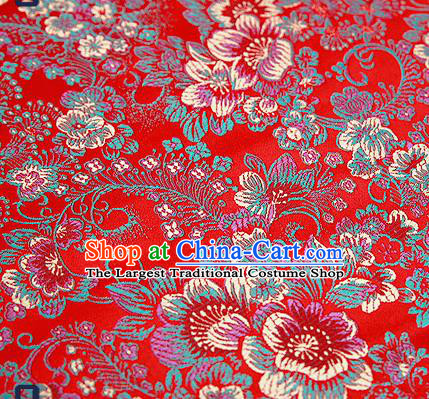 Chinese Traditional Red Brocade Drapery Classical Peony Pattern Design Satin Tang Suit Qipao Silk Fabric Material