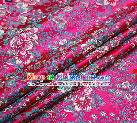 Chinese Traditional Rosy Brocade Drapery Classical Peony Pattern Design Satin Tang Suit Qipao Silk Fabric Material