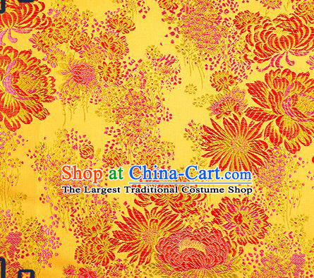 Traditional Chinese Golden Brocade Drapery Classical Fireworks Pattern Design Satin Table Flag Silk Fabric Material