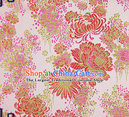 Traditional Chinese Pink Brocade Drapery Classical Fireworks Pattern Design Satin Table Flag Silk Fabric Material