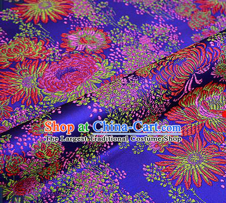Traditional Chinese Purple Brocade Drapery Classical Fireworks Pattern Design Satin Table Flag Silk Fabric Material