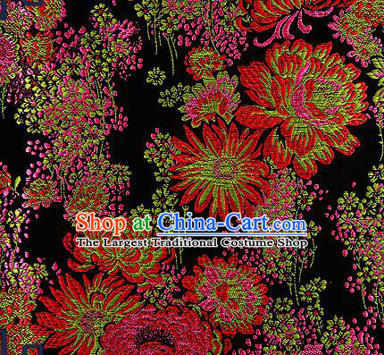 Traditional Chinese Black Brocade Drapery Classical Fireworks Pattern Design Satin Table Flag Silk Fabric Material