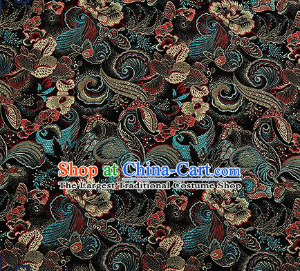 Traditional Chinese Black Brocade Drapery Classical Butterfly Peony Pattern Design Satin Cheongsam Silk Fabric Material