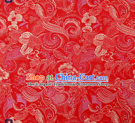 Traditional Chinese Red Brocade Drapery Classical Butterfly Peony Pattern Design Satin Cheongsam Silk Fabric Material