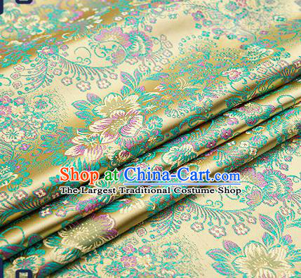 Chinese Traditional Green Brocade Drapery Classical Peony Pattern Design Satin Tang Suit Qipao Silk Fabric Material