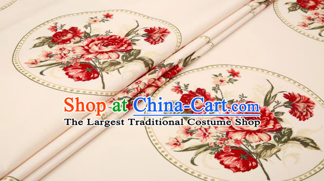 Traditional Chinese Brocade Drapery Classical Red Peony Pattern Design Satin Cushion Silk Fabric Material