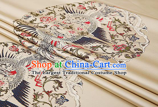 Traditional Chinese Beige Brocade Drapery Classical Phoenix Pattern Design Satin Cushion Silk Fabric Material