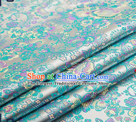 Chinese Traditional Blue Brocade Drapery Classical Peony Pattern Design Satin Tang Suit Qipao Silk Fabric Material