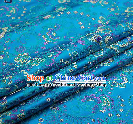 Chinese Traditional Lake Blue Brocade Drapery Classical Peony Pattern Design Satin Tang Suit Qipao Silk Fabric Material