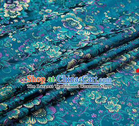 Chinese Traditional Peacock Blue Brocade Drapery Classical Peony Pattern Design Satin Tang Suit Qipao Silk Fabric Material