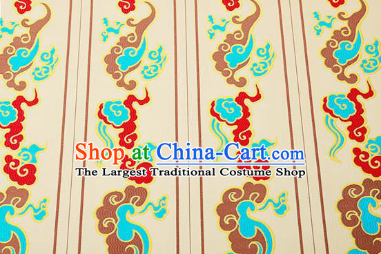 Chinese Traditional Golden Brocade Drapery Classical Clouds Pattern Design Satin Cushion Silk Fabric Material