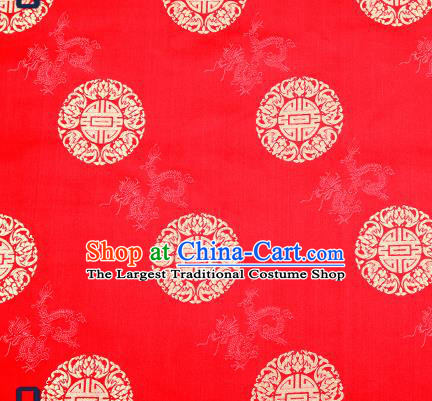 Traditional Chinese Red Brocade Drapery Classical Dragon Pattern Design Satin Cushion Silk Fabric Material