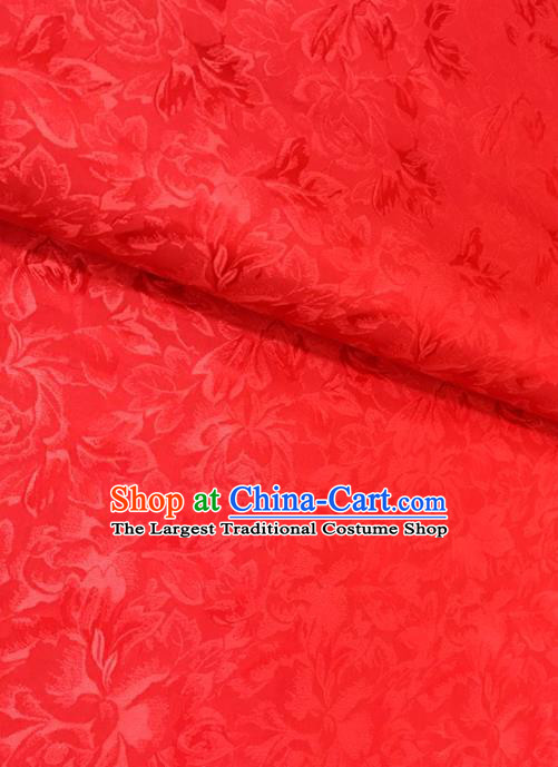 Traditional Chinese Red Brocade Drapery Classical Peony Pattern Design Satin Cushion Silk Fabric Material