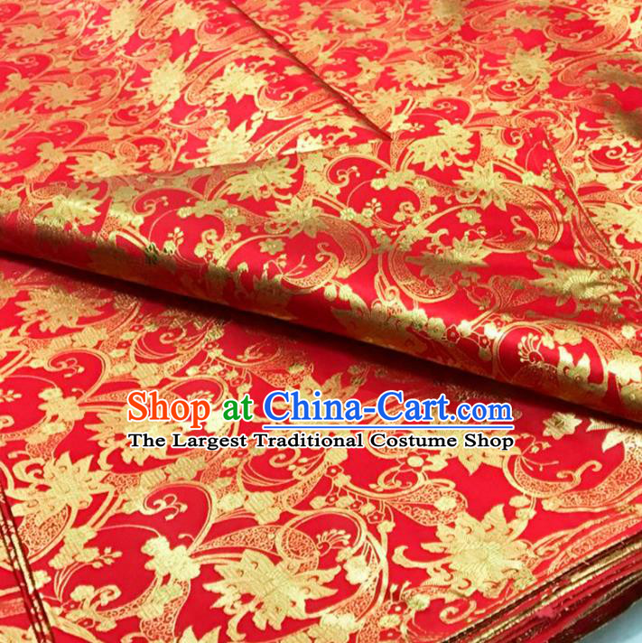 Traditional Chinese Red Brocade Drapery Classical Peony Pattern Design Satin Qipao Silk Fabric Material