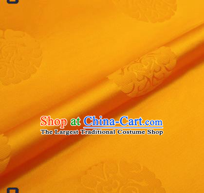 Traditional Chinese Brocade Drapery Classical Pattern Design Yellow Satin Qipao Silk Fabric Material