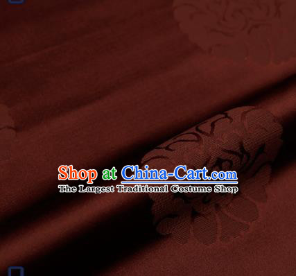 Traditional Chinese Brocade Drapery Classical Pattern Design Brown Satin Qipao Silk Fabric Material