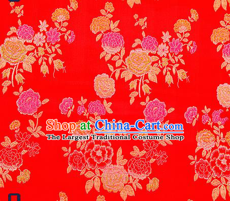 Traditional Chinese Brocade Drapery Classical Peony Pattern Design Red Satin Qipao Silk Fabric Material