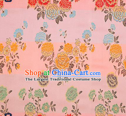 Traditional Chinese Brocade Drapery Classical Peony Pattern Design Pink Satin Qipao Silk Fabric Material