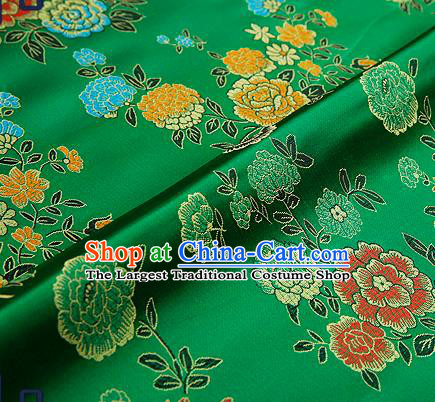 Traditional Chinese Brocade Drapery Classical Peony Pattern Design Green Satin Qipao Silk Fabric Material