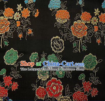 Traditional Chinese Brocade Drapery Classical Peony Pattern Design Black Satin Qipao Silk Fabric Material