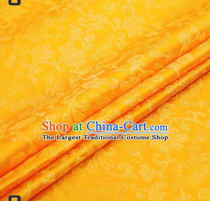 Traditional Chinese Yellow Satin Brocade Drapery Classical Dragons Pattern Design Qipao Silk Fabric Material