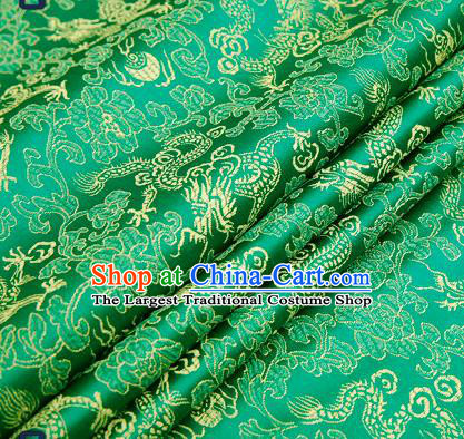 Traditional Chinese Green Satin Brocade Drapery Classical Dragons Pattern Design Qipao Silk Fabric Material