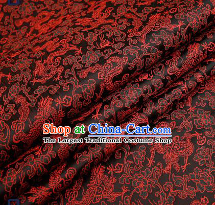 Traditional Chinese Black Satin Brocade Drapery Classical Dragons Pattern Design Qipao Silk Fabric Material