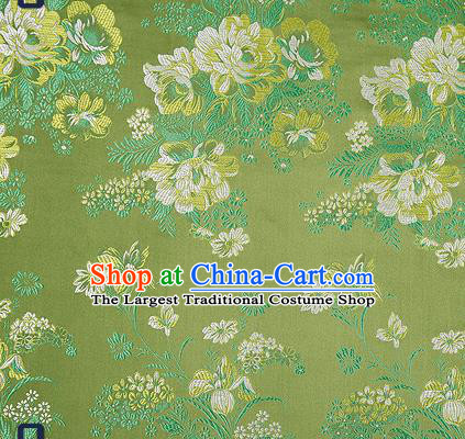 Traditional Chinese Green Satin Brocade Drapery Classical Peony Pattern Design Qipao Silk Fabric Material