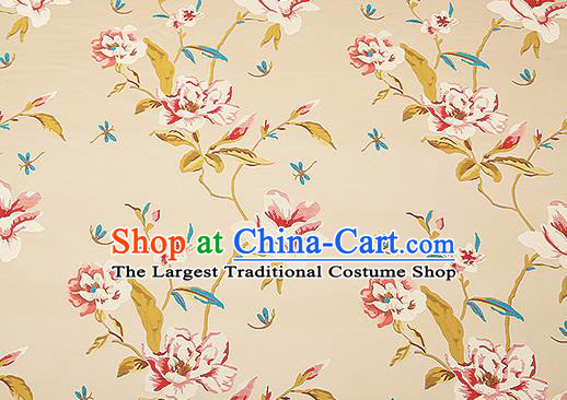 Traditional Chinese Beige Satin Brocade Drapery Classical Embroidery Peony Pattern Design Cushion Silk Fabric Material