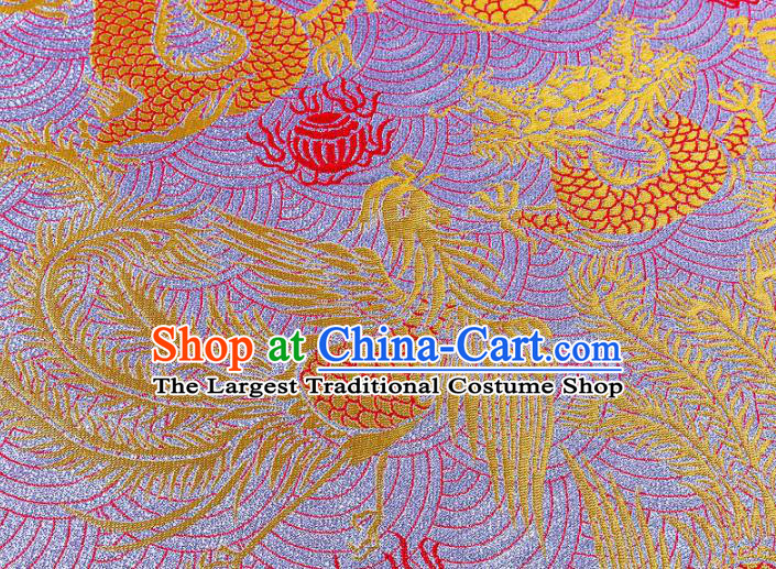 Asian Chinese Traditional Fabric Purple Brocade Silk Material Classical Dragon Phoenix Pattern Design Satin Drapery