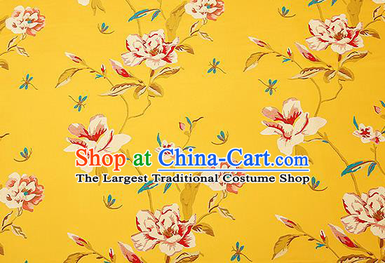 Traditional Chinese Yellow Satin Brocade Drapery Classical Embroidery Peony Pattern Design Cushion Silk Fabric Material