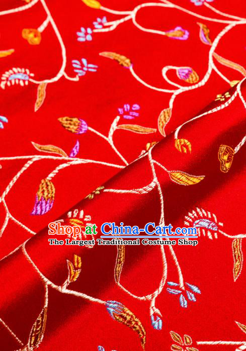 Asian Chinese Traditional Fabric Red Brocade Silk Material Classical Chili Flowers Pattern Design Satin Drapery