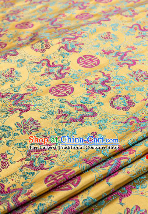 Asian Chinese Traditional Fabric Tang Suit Brocade Silk Material Classical Dragons Pattern Design Satin Drapery