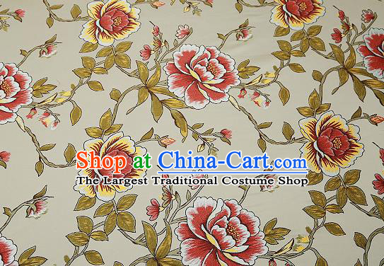 Traditional Chinese Light Blue Satin Brocade Drapery Classical Embroidery Peony Pattern Design Cushion Silk Fabric Material