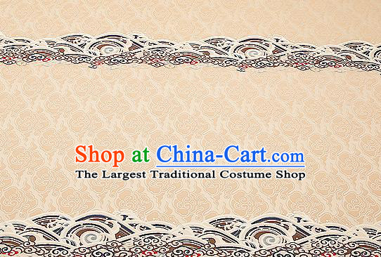 Traditional Chinese Beige Satin Brocade Drapery Classical Embroidery Clouds Pattern Design Cushion Silk Fabric Material